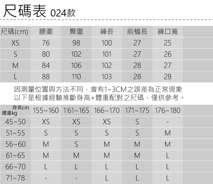 024尺碼表